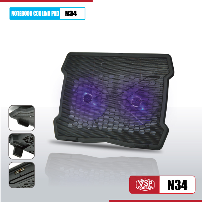 Fan tản hiệt cho laptop Notebook cooler pad N34 LED