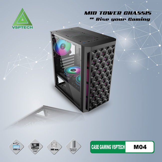 Case VSPTECH Gaming Mid Tower Chassis M04