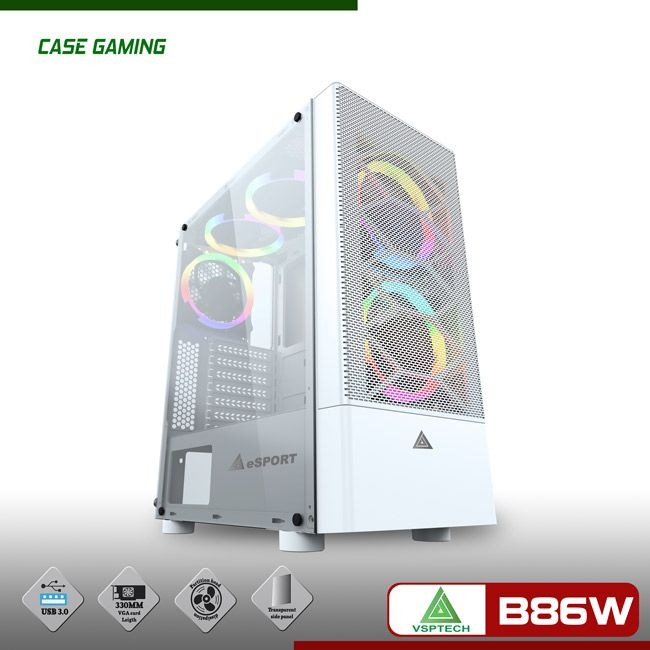 Case VSPTECH Gaming B86 white (Trắng)