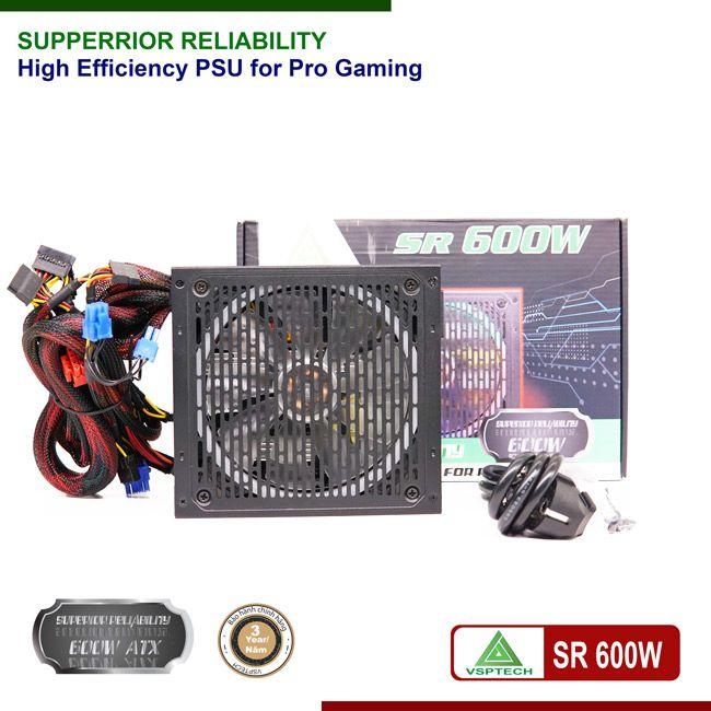 Nguồn VSPTECH SR600W  công suất thực Fan Led RGB