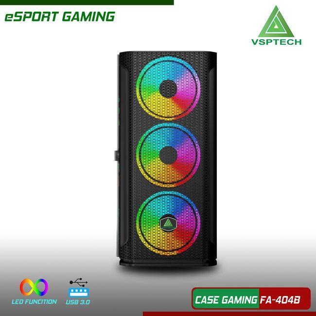 Case gaming VSPTECH FA-404B kèn 3 fan LED mặt trước