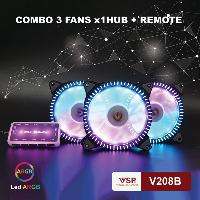 Fan case VSP Bộ 3 fan + hub Led ARGB V208B