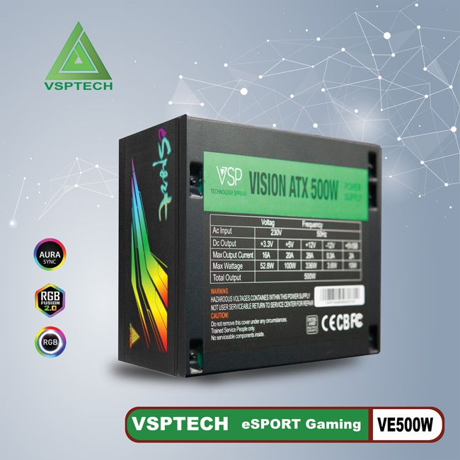 Nguồn VSPTECH eSPORT GAMING LED VE500W