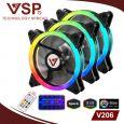 Combo bộ 3 Fan led RGB 2 mặt VSP V206 +Hub + Remote